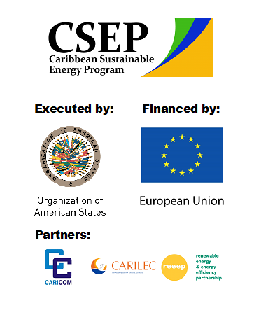 CSEP, OAS (coordinator), EU (financier), and CARICOM, CARILEC and REEEP (regional partners) logos