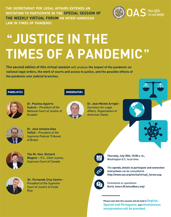 """Virtual Forum: """"Justice in the times of a pandemic"""""""
