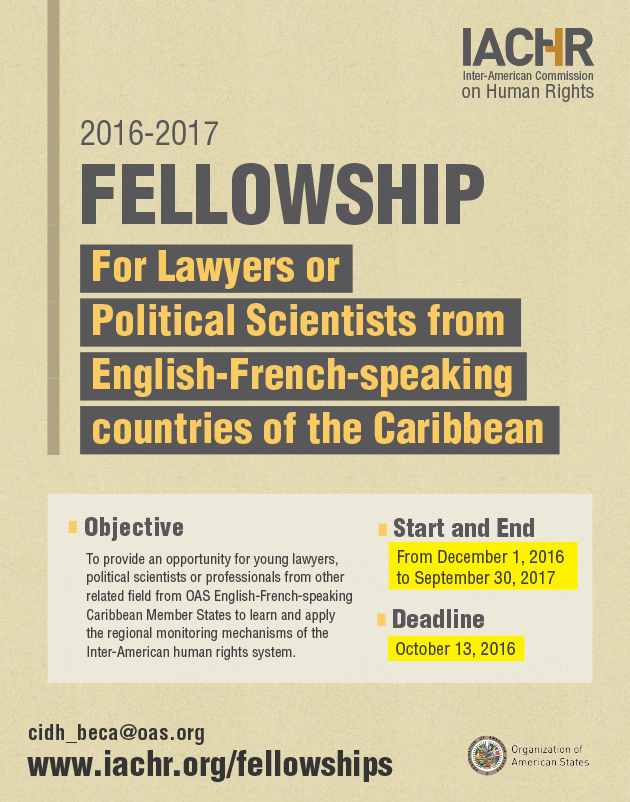 For Lawyers or Political Scientists from English-French-speaking countries of the Caribbean