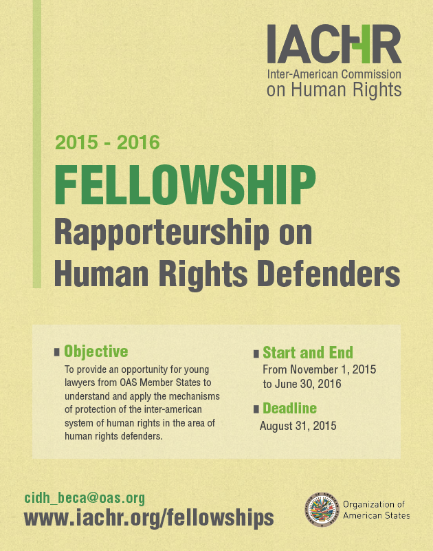 Fellowship for Rapporteurship on Human Rights Defenders