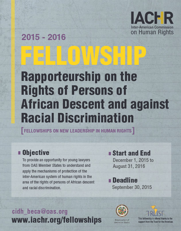 Fellowship for Rapporteurship on the Rights of Persons of African Descent and against Racial Discrimination