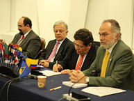 Dr. Javier Zapata Ortiz, President of the Supreme Court of Justice of Colombia, signs the memorandum of understanding