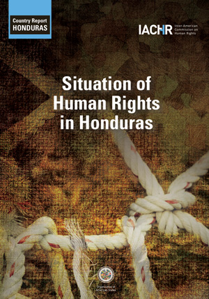 Cover of the IACHR report, Situation of Human Rights in Honduras