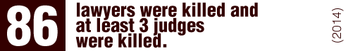 From 2010 to October 2014, 86 lawyers were killed; and according to information provided by the AJD, at least 3 judges were killed between 2013 and 2014.