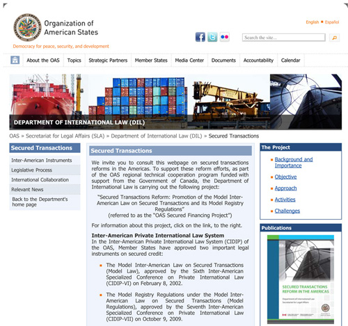 Department of International Law Launches Secured Transactions Webpage