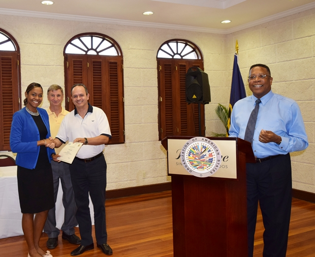 The presentation of Certificates at the closing of the  OAS CICAD National Seminar, on Illicit Drug Production, Synthetic Drugs & New Psychoactive Substance, Crane Resort Barbados Sept 21 - 24, 2015
