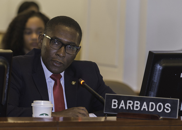 Ambassador Mr. Selwin Hart, Permanent Representative of Barbados to the OAS at the Regular meeting of the Permanent Council in Washington D.C, September 12, 2017