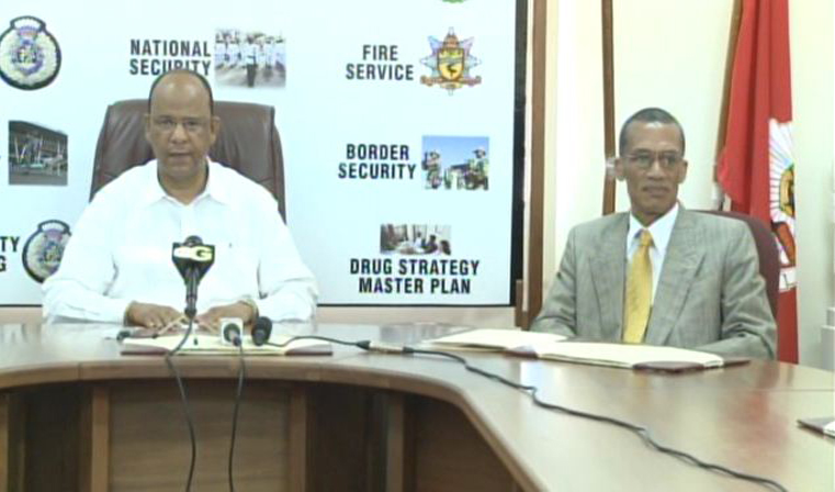 The Hon. Minister of Home Affairs, Guyana (left) and The Representative of the OAS in Guyana at an event to hand over equipment re. the OAS/Guyana Project to Strengthen Information on Public Security.