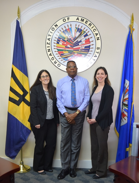 Pan American Development Foundation (PADF), Officials  Ms. Jessica Varat and Ms. Camila Payan  visited, OAS Representative Mr. Francis McBarnette in Barbados Dec 5, 2016