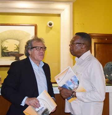 Mr. Francis McBarnette, OAS Barbados Representative, meet with  the Secretary General of the OAS H.E. Luis Almagro at the Hilton Barbados, on his  two day visit to Barbados.
