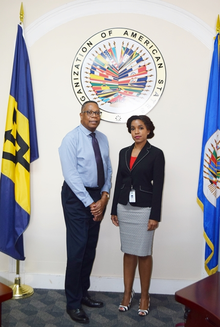 On October 25, 2018, Dr. Marielle Barrow-Maignan, Coordinator of the Cultural  and Creative Industries Innovative Fund  at the Caribbean Development Bank (CDB) visited the OAS Barbados Office to meet with the Country Representative, Francis A. McBarnette, and to inform on the objectives of the Fund established by the CDB.