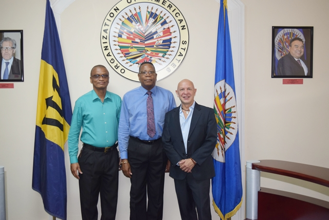 Mr. Jorge Duran, Chief of the Secretariat of the Inter-American Committee on Ports right and Mr. Anthony Benn, Manager Security Services Barbados Port Inc left, paid a courtesy call to Mr. Francis McBarnette, OAS Barbados Representative, August 30 2017.