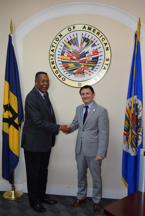 New Resident Coordinator of the United Nations, Didier Trebucq, pays a courtesy call on the OAS Representative.