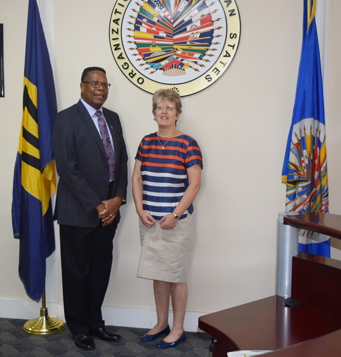 H.E. Janet Douglas High Commissioner, United Kingdom of Great Britain and Northern Ireland in Barbados, paid a courtesy call to Mr. Francis McBarnette, OAS Barbados Representative, May 31, 2017.