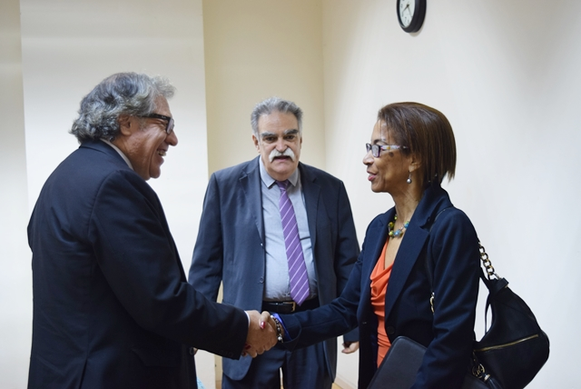The Secretary General of the OAS H.E. Luis Almagro (left) greet Ms. Ann Marie Blackman, OAS / IIN Coordinator  with Director General of  Inter-American Children's Institute (IIN) Prof. Victor Giorgi at the Erskine Sandiford Conference Center, Sept 19 2017