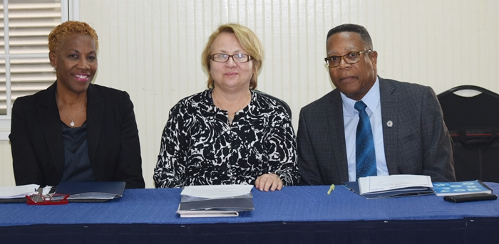 From right to left Mr. Francis McBarnette OAS Barbados Representative, Ms. Agnes Pust of the Canadian High Commission and Ms. Celia Pollard Jones Deputy Permanent Secretary in the Ministry of Tourism  at the OAS Tourism Security Assessment Meeting, Barbados Defense Force May 18 - 19 2017