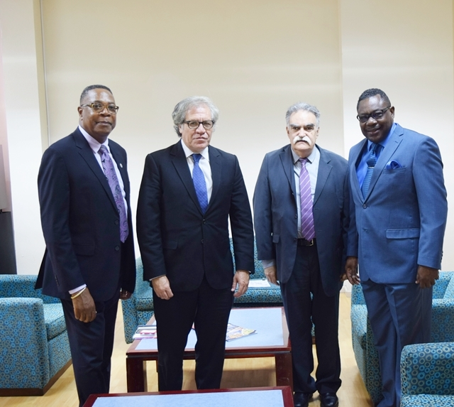 From: left to right Mr. Francis McBarnette, OAS Barbados Representative, the Secretary General of the OAS H.E. Luis Almagro, Director General of IIN, Prof. Victor Giorgi and Hon. Steven Blackett, M.P. Minister of Social Care Constituency Empowerment and Community Development at the Erskine Sandiford Conference Center, Sept 19 2017