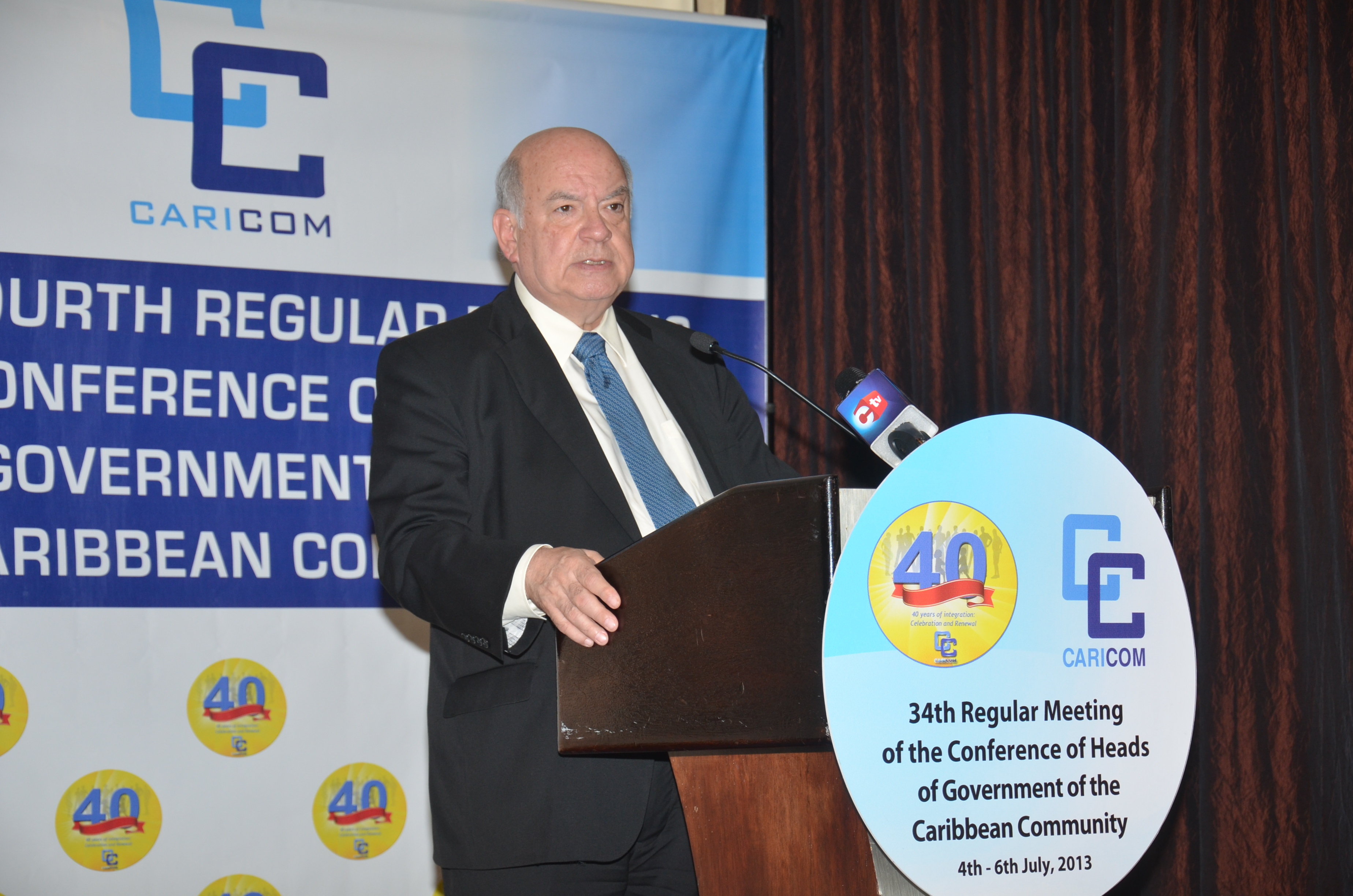Secretary General Insulza gives a press conference in the context of the 34th Regular Meeting of the Conference of Heads of Government of the CARICOM