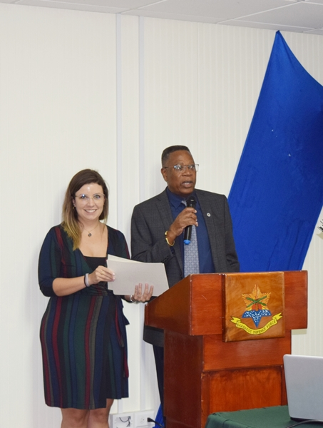 Presentation of Certificates by Canada Deputy High Commissioner to Barbados, Agnes Pust as Captain Caddle of Barbados Defence Force looks on at the National workshop on gender equality in counter-drug enforcement agencies GENLEA/OAS CICAD, at the Barbados Defence Force, St. Ann's Fort the Garrison