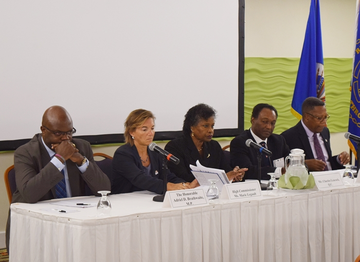 From left to right Hon. Adriel Brathwaite Attorney General of Barbados, Ms. Marie Legault, Canada High Commissioner to Barbados, Chief Justice (ag) Justice Sandra Mason, Director of Public Prosecution Mr. Charles Leacock and OAS Representative in Barbados Mr. Francis McBarnette at the OAS Anti-Money Laundering Workshop for Judges and Prosecutors, Radisson Resort Barbados, May 22-24 2017.