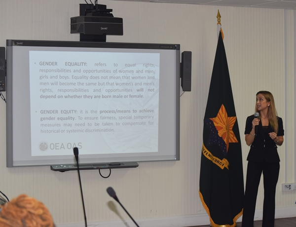 Presentation and discussion by  Ana Alvarez, Project Manager Supply Reducation Unit (CICAD/OAS) at the National workshop on gender equality in counter-drug enforcement agencies GENLEA/OAS CICAD, at the Barbados Defence Force, St. Ann's Fort the Garrison