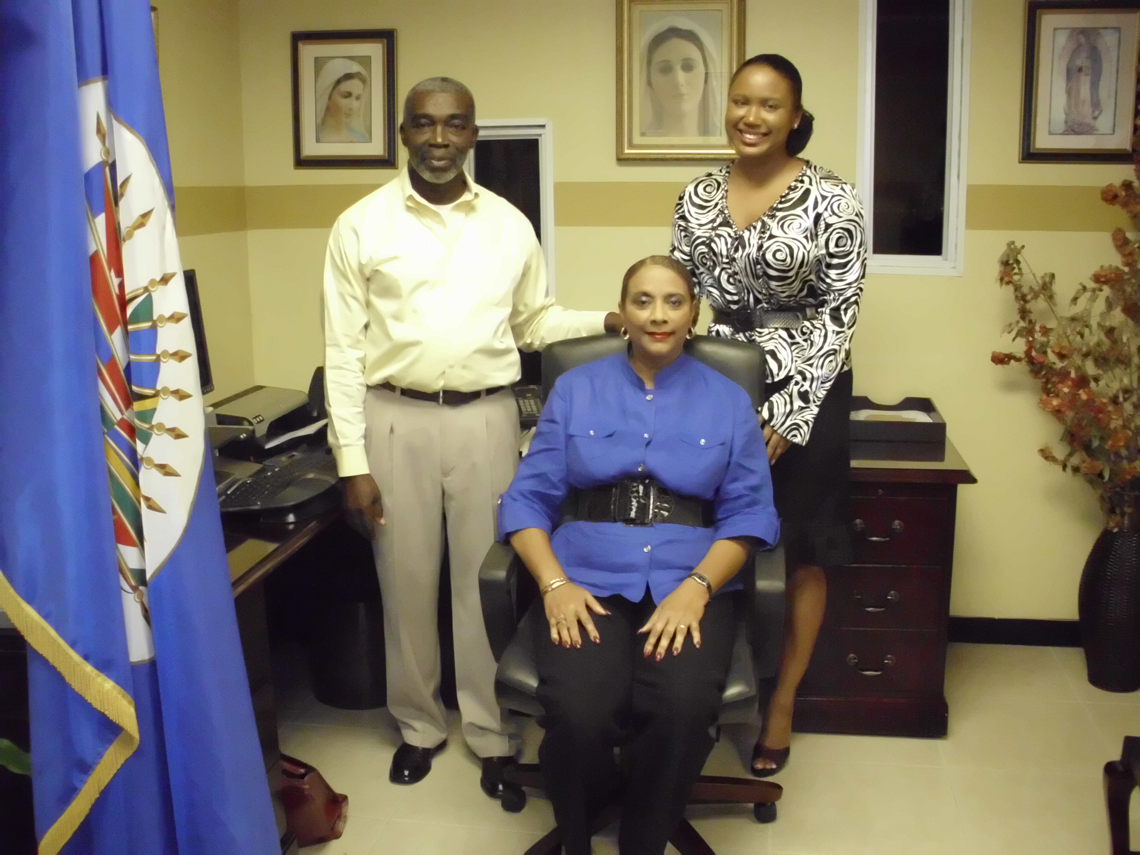 GS/OAS Office in Jamaica staff members- Dr. Joan C. Neil, Representative, ( Center), Ms. Kerry-Ann Parchment, Administrative Technician ( Right), Mr. Lloyd Campbell, Messenger Chauffeur ( Left)