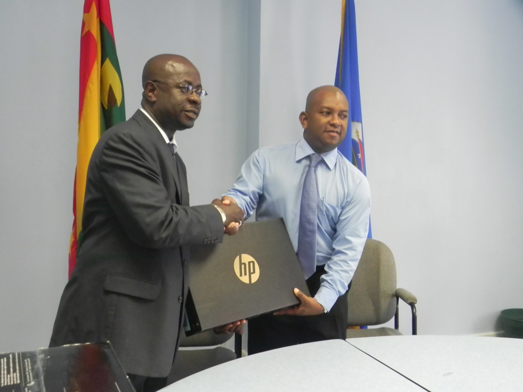 OAS hands over computer equipment to the Grenada Energy Unit as a part of its commitment to support Caribbean member states of the OAS under the Caribbean Sustainable Energy Programme