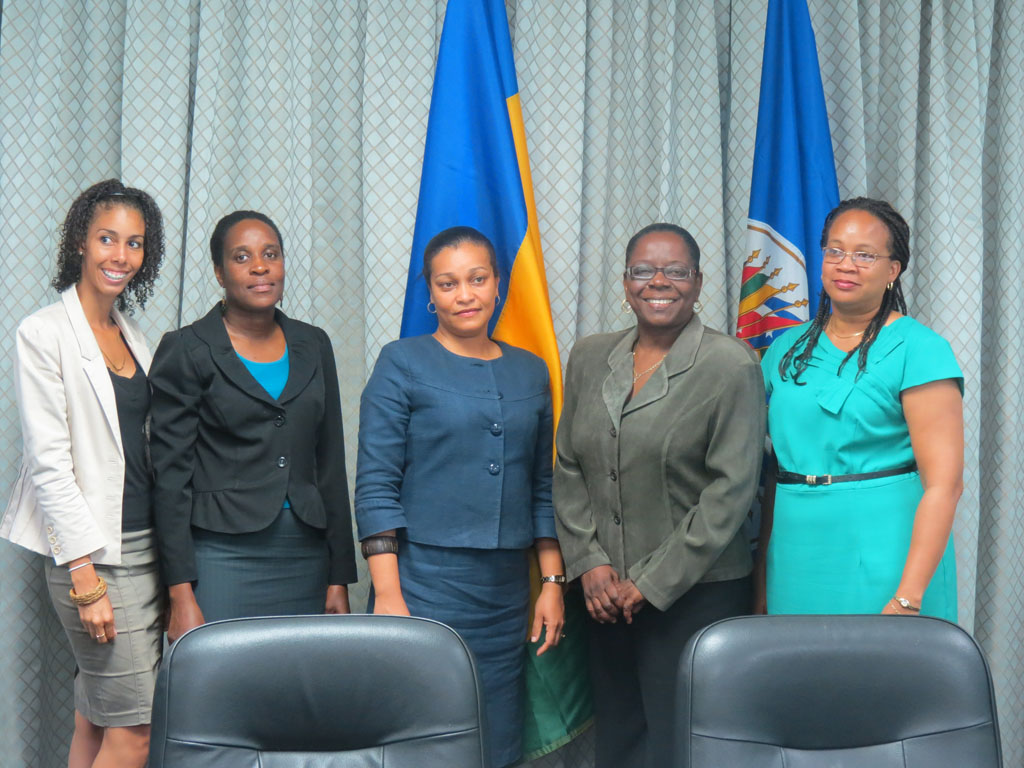 L-R: Jay Belmar, Communications Manager, Ministry of Tourism; Racquel Hamlet, Tourism Planner, Ministry of Tourism; Laverne Grant, Permanent Secretary, Ministry of Tourism, Laura Anthony-Browne, Director of Central Planning and Melene Glynn, OAS Representative at Signing Ceremony for OAS-funded Craft Enhancement project