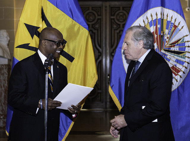 New Permanent Representative of Barbados to the OAS, Ambassador H.E. Noel Lynch, Presents Credentials, to the  OAS Secretary General  Luis Almagro, at the OAS Headquarters in Washington D.C