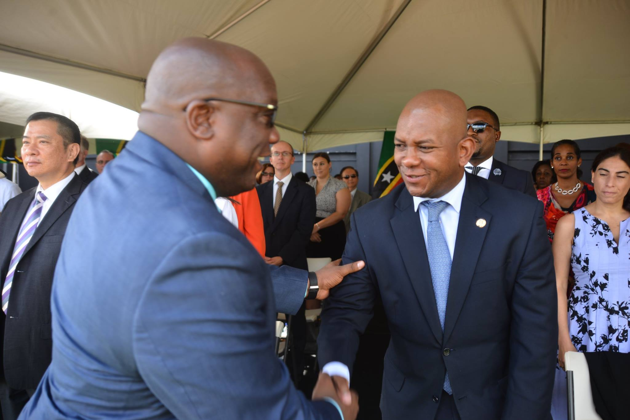 THE FEDERATION OF ST KITTS AND NEVIS 33RD INDEPENDENCE DAY NATIONAL PARADE AT WARNER PARK - OAS Representative, Mr Terence Craig Greets the Prime Minister, The Honourable Dr Timothy Harris at the National Independence Day Parade