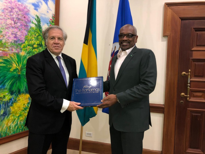 Secretary-General of the Organization of American States (OAS), Mr. Luis Almagro, congratulated Prime Minister the Most Hon. Dr. Hubert Minnis on the Government's leadership and response to Hurricane Dorian, during a courtesy call at the Office of the Prime Minister on Friday 18 October 2019.