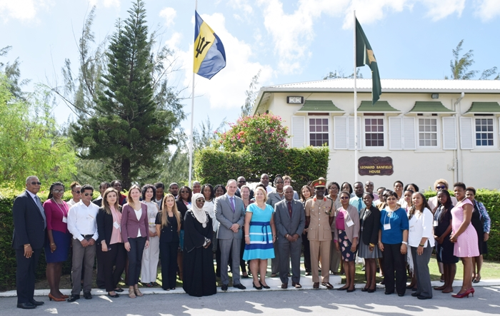 Group photo of the participants at the  National workshop on gender equality in counter-drug enforcement agencies GENLEA/OAS CICAD, at the Barbados Defence Force, St. Ann's Fort the Garrison