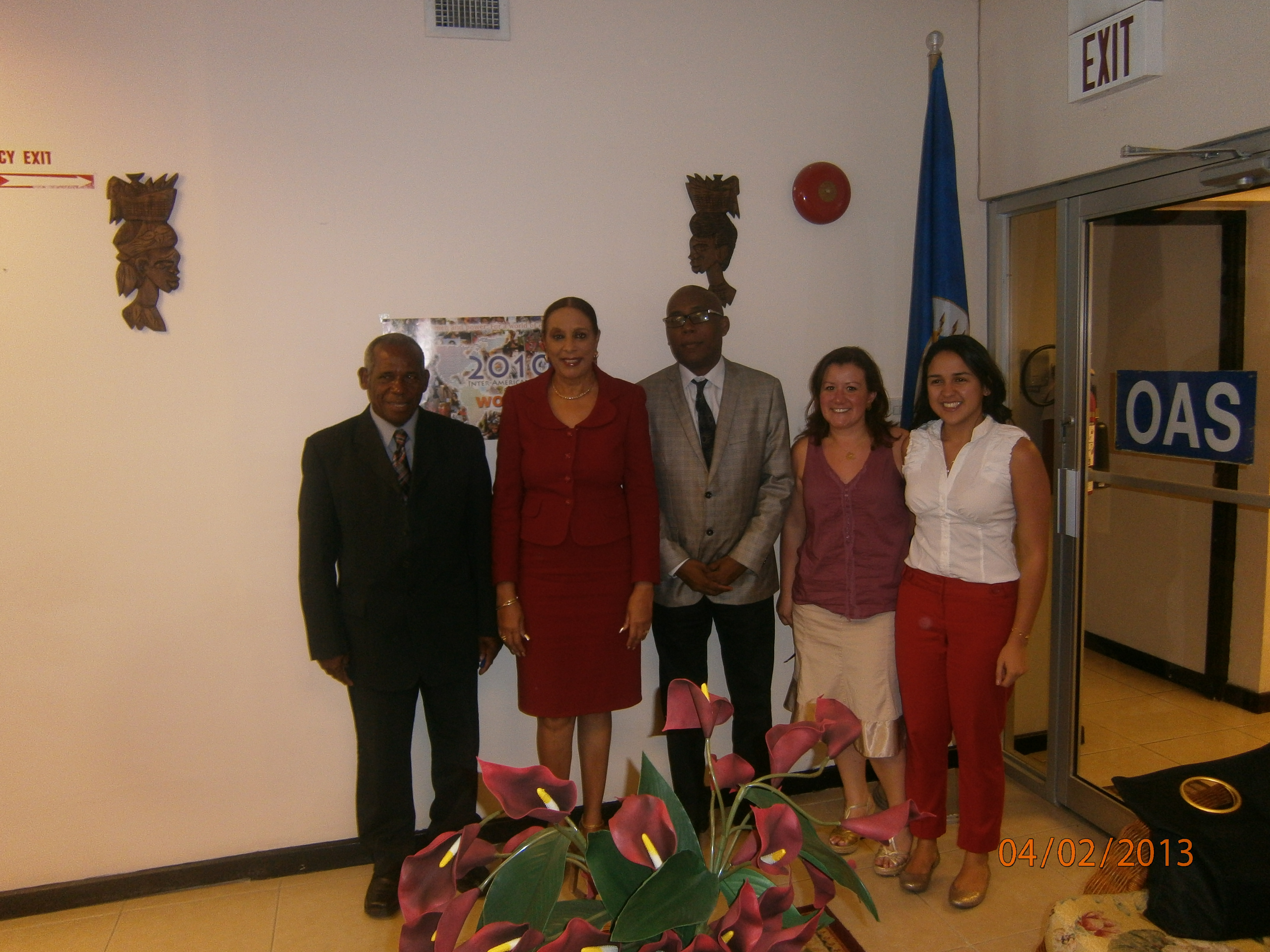 "Haitian delegates,  Mr. Lolo Stern and  Mr. Serge Francois with Ms. Carolina Ahumada Mejia met with OAS Representative Dr. Joan C. Neil during their mission to Jamaica, ""  Labor Cooperation between Jamaica and Haiti"".