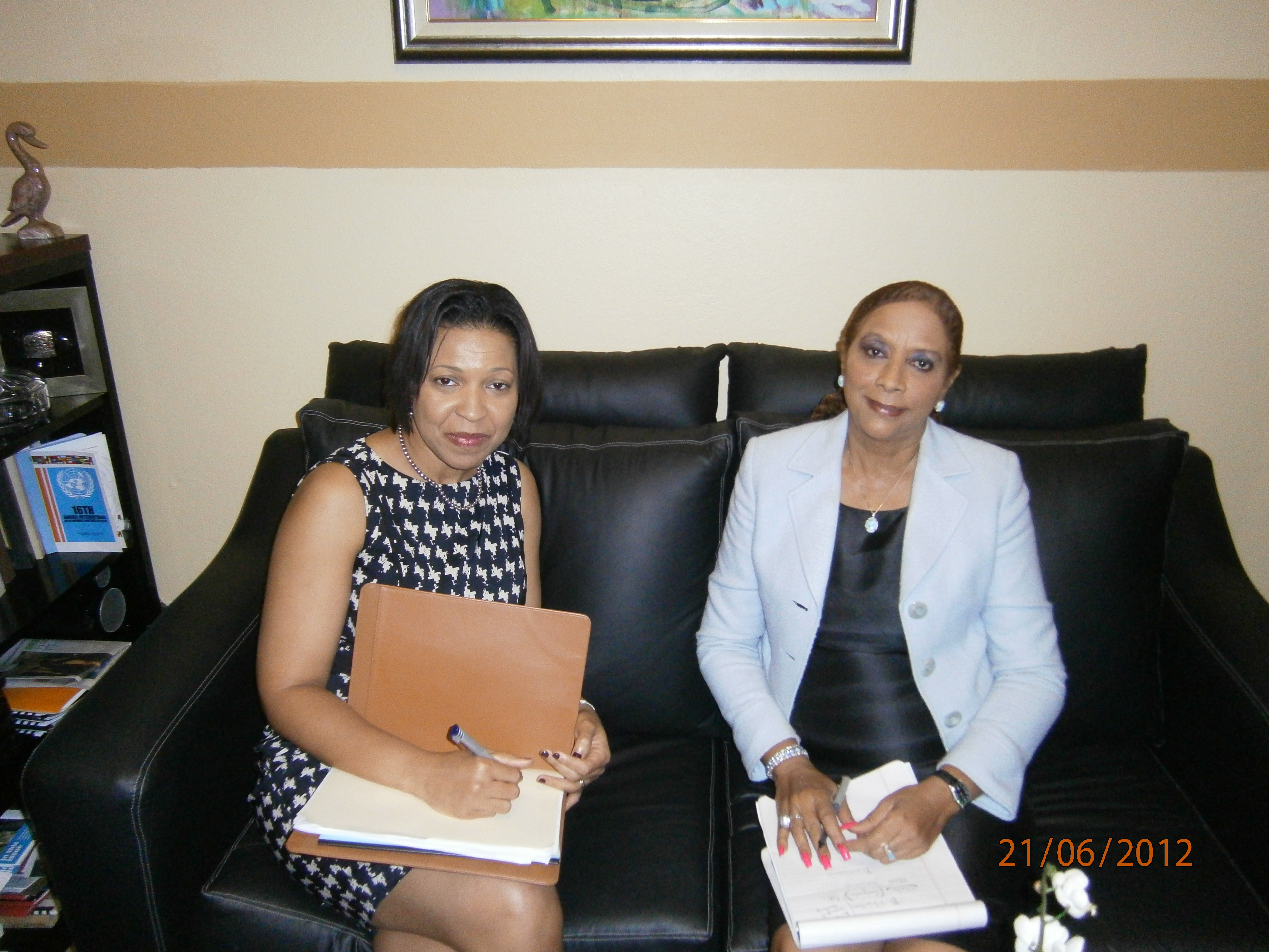 OAS Representative in Jamaica  Dr. Joan Neil meet with OAS Senior Specialist, Mrs. Kim Osborne
