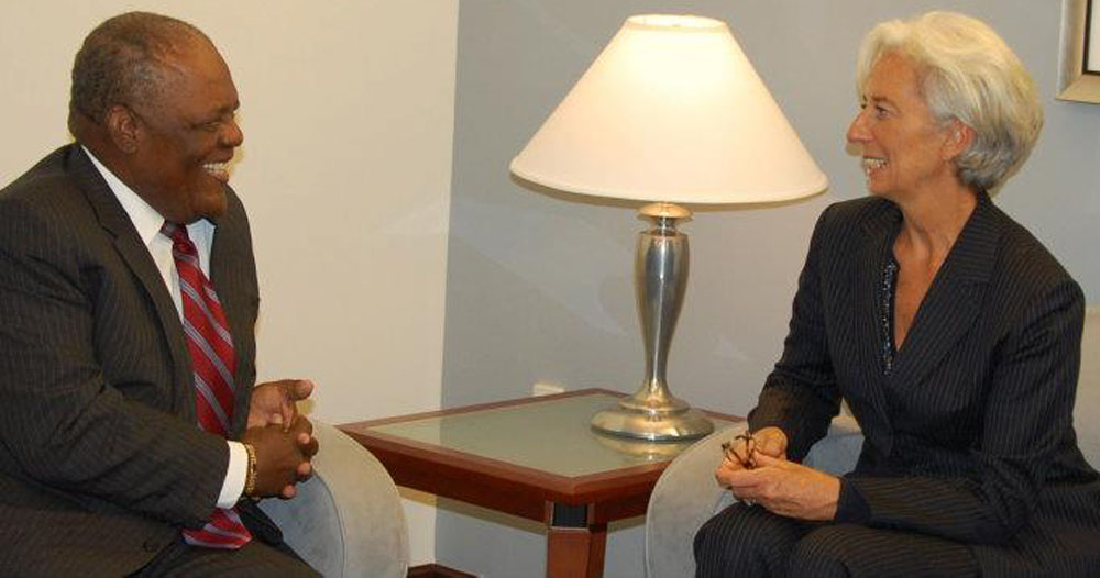 Prime Minister Ingraham meets with Managing director of the International Monetary Fund (IMF) in Washington, DC   September 19 2011