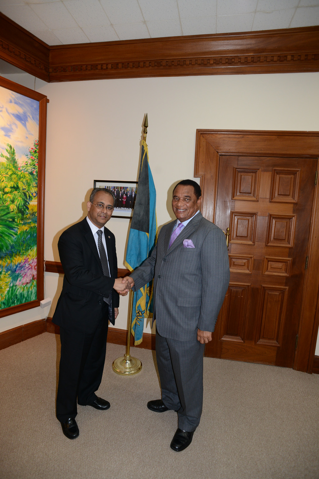 The Assistant Secretary General of the Organization of American States (OAS), Ambassador Albert Ramdin visits with the Prime Minister of The Bahamas, Rt. Hon. Perry G Christie-Nassau, Bahamas April 23rd, 2013