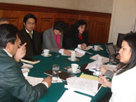 Commissioner Luz Patricia Mejía and the IACHR delegation at a meeting with Bolivian Foreign Minister David Choquehuanca on June 9, 2008, at the start of the Commission's visit to that country