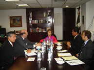 The IACHR delegation meets with María del Refugio González Domínguez, Deputy Secretary of Multilateral Affairs and Human Rights of Mexico's Secretariat of Foreign Affairs; Juan José Gomez Camacho, Director of Human Rights; and José Guevara, Deputy Director of Human Rights