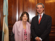 The Rapporteur on the Rights of Persons Deprived of Liberty and the Vice Chair of the Supreme Court of Justice of Argentina, Elena Highton de Nolasco, after a meeting that took place during the visit to Argentina, in June 2010