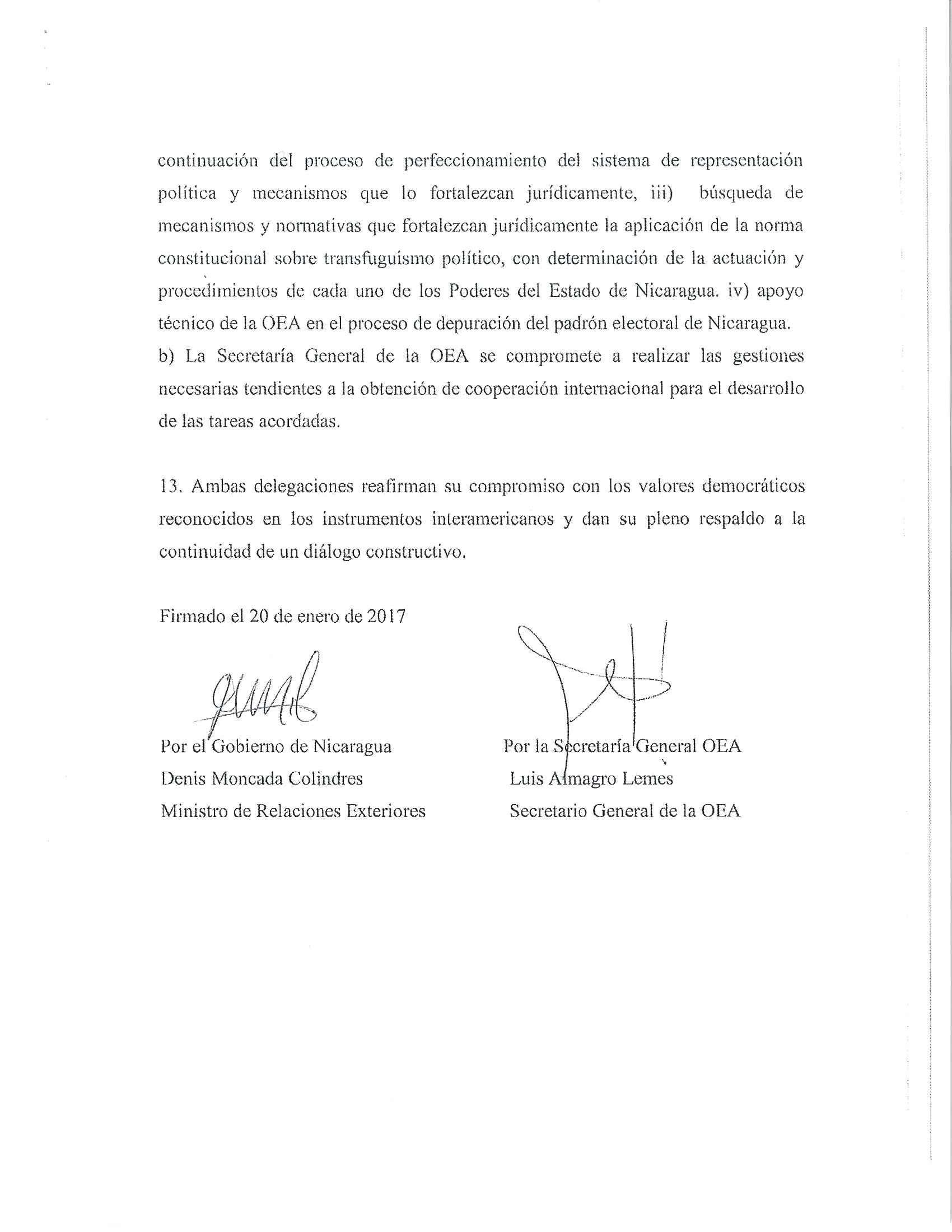 Acuerdo Nicaragua OEA 2017 6/6