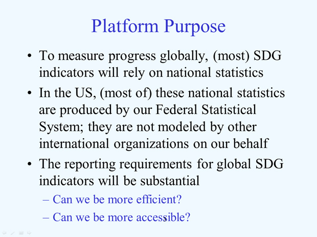 US National Reporting Platform: National Statistics for Global SDGS slide3