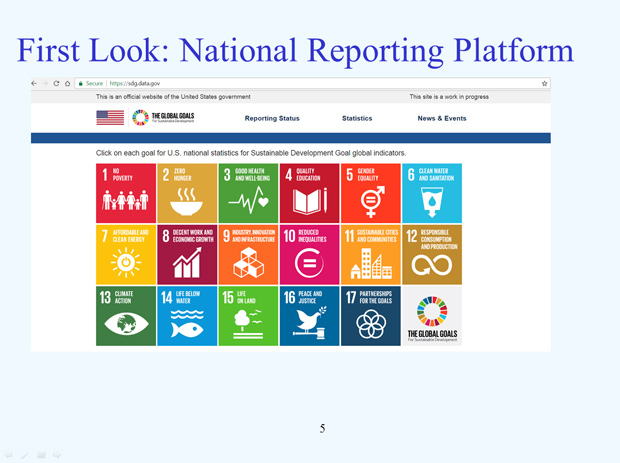 US National Reporting Platform: National Statistics for Global SDGS slide5
