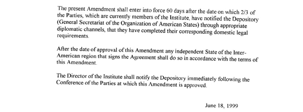 Amendment To The Agreement Establishing The Inter American Institute