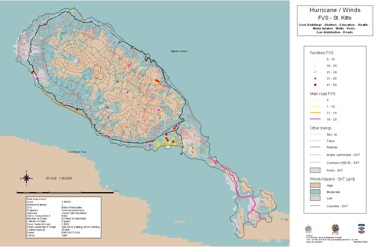 PGDM Vulnerability Assessment Page St KittsNevis - Saint kitts and nevis map