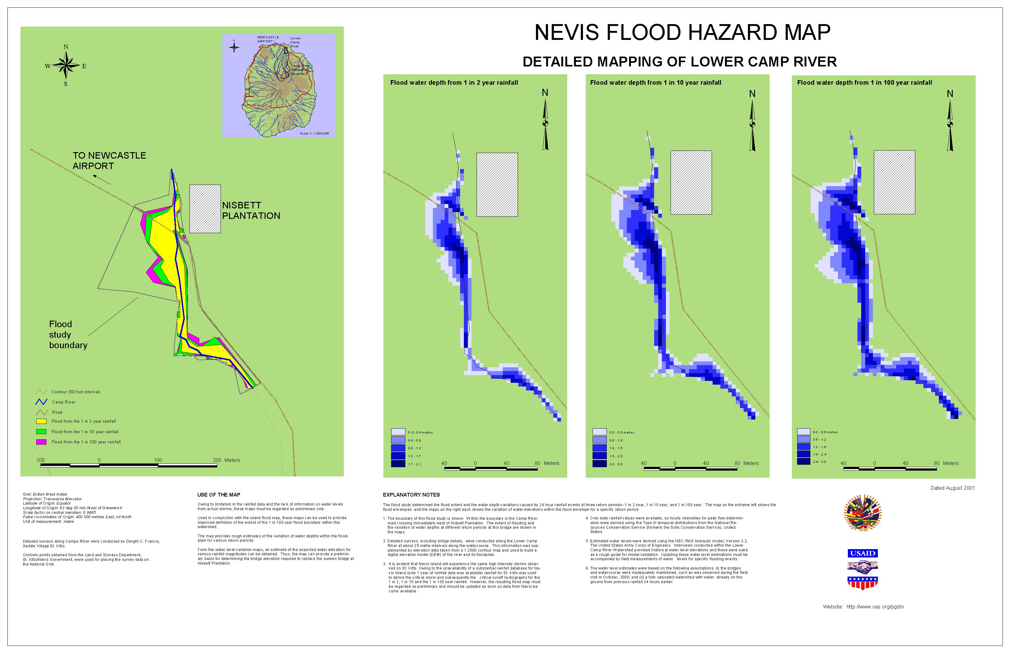PGDM Inland Flooding Hazard Map Camps River Nevis - Flood hazard boundary map