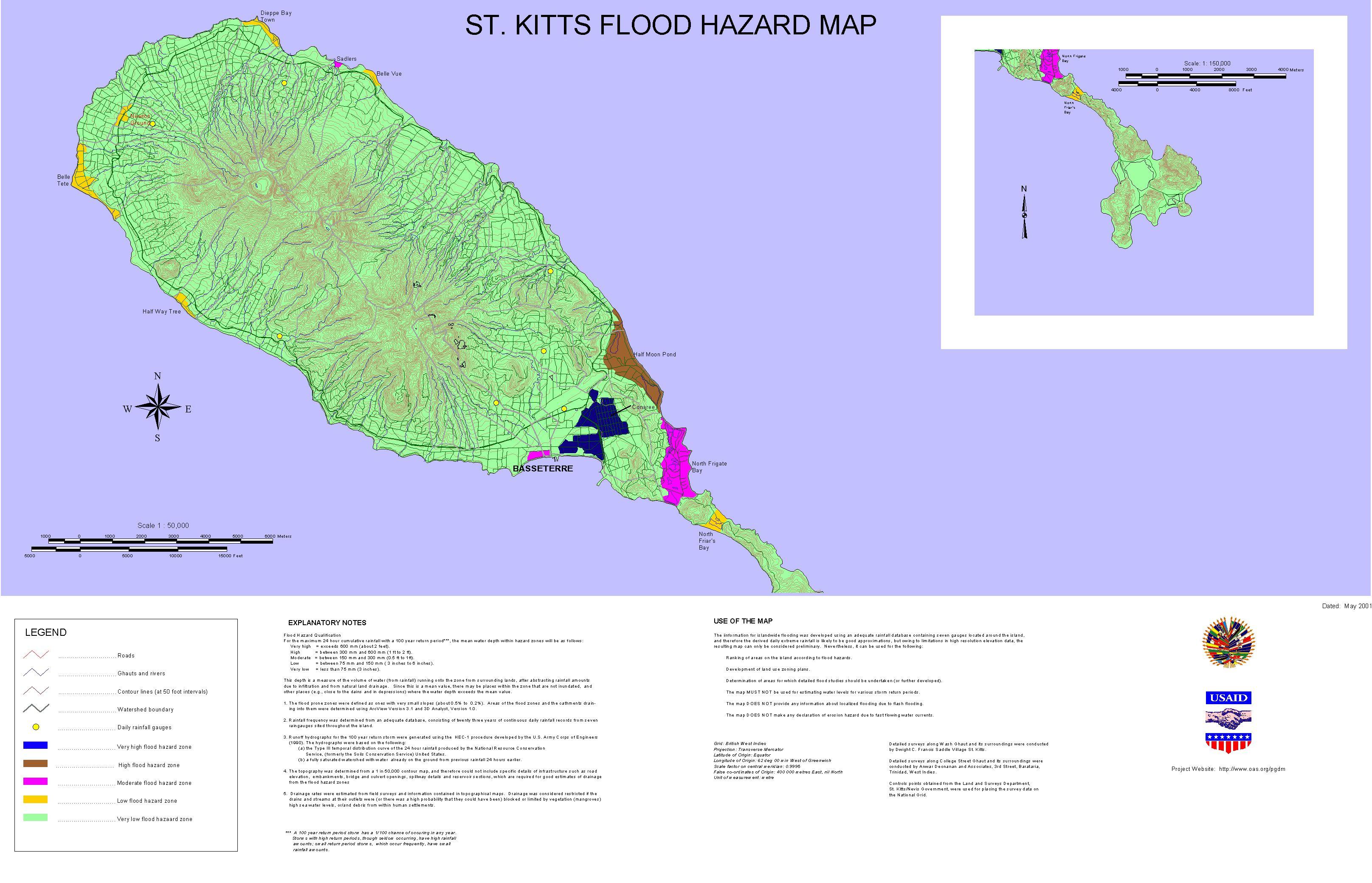 PGDM Inland Flooding Hazard Map St Kitts