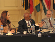 From left to right: Commissioner Rose Marie Antoine, Rapporteur on the Rights of Afrodescendants; Human Righs Specialist Hilaire Sobers; IACHR President, Jose de Jesus Orozco.