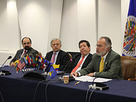 (Left to right) Emilio Alvarez-Icaza, IACHR Executive Secretary; Ambassador Andres Gonzalez Diaz, Permanent Representative of Colombia to the OAS; Dr. Javier Zapata Ortiz, President of the Supreme Court of Justice of Colombia; IACHR Chair, Jose de Jesus Orozco