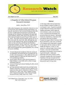 A Snapshot of After-School Program - Research Literature