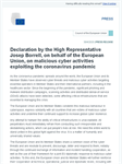 Declaration by the High Representative Josep Borrell, on behalf of the European Union, on malicious cyber activities exploiting the coronavirus pandemic